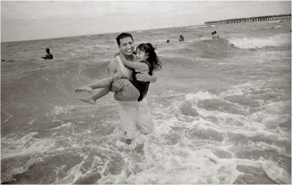 coney island - dad in surf